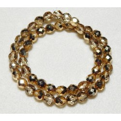 16 Inch Strand 8 mm Czech Fire Gold Polished Crystals