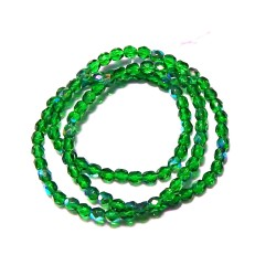 16 Inch Strand 4mm Emerald Christmas Green AB Czech Fire Polished Crystals