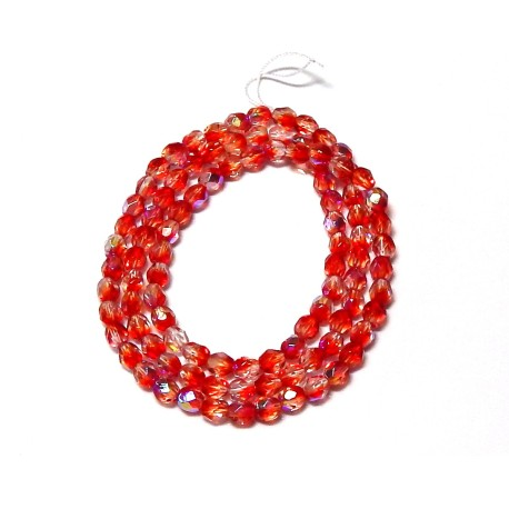 16 Inch Strand 4mm Two Tone Crystal Red AB Czech Fire Polished Crystals