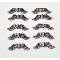 23x6 mm Silver Finished Pewter Double Sided Angel Wings