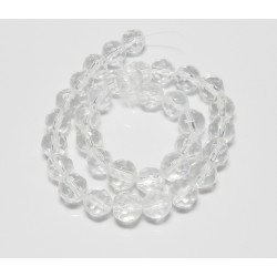 10 mm Faceted Round Clear Glass Beads 14 Inch Strand