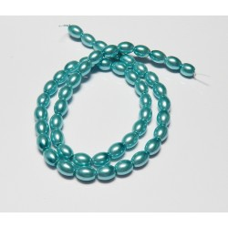 8x6 mm Lt. Aqua Glass Pearl Oval