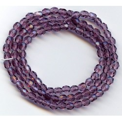 16 Inch Strand 4mm Amethyst Czech Fire Polished Crystals
