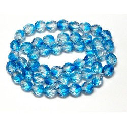 16 Inch Strand 8mm Crystal/Aqua Czech Fire Polished Crystals