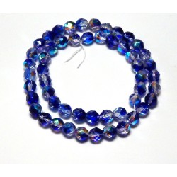 16 Inch Strand 8mm Crystal/Dark Blue AB Czech Fire Polished Crystals