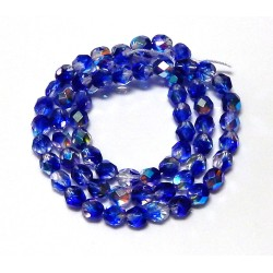 16 Inch Strand 6mm Crystal/Dark Blue AB Czech Fire Polished Crystals