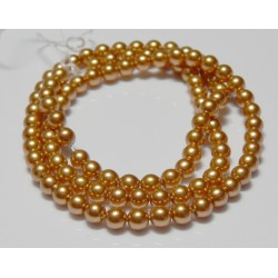4mm Glass Pearls Gold 16 Inch Strand