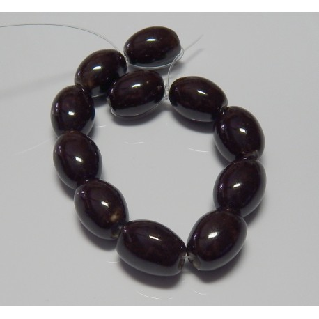 Dark Honey Porcelain Beads 18x13 mm 8 Inch Strand
