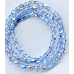 16 Inch Strand 4mm Blue AB Czech Fire Polished Crystals