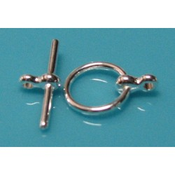 12 mm Silver Plated Round Toggle Clasp