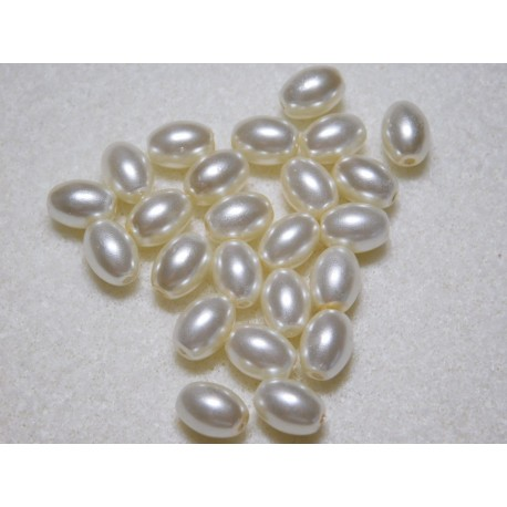 8x6 mm Ivory Glass Pearl Oval ( Qty 24 )