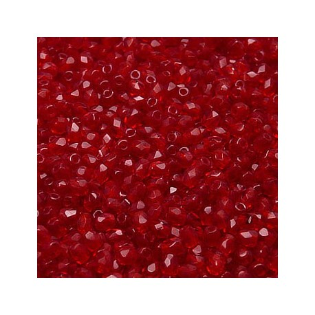 16 Inch Strand 3MM Ruby Czech Fire Polished Crystals