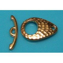 16 x 22 mm Hammered Bright Gold Plated Tear Drop Toggle