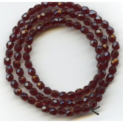 16 Inch Strand 4mm Garnet Czech Fire Polished Crystals