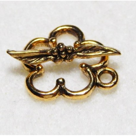 18 mm Antiqued Gold Flower Toggle Clasp