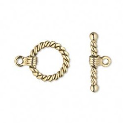 15 mm Antiqued Gold Plated Pewter Toggle Clasp