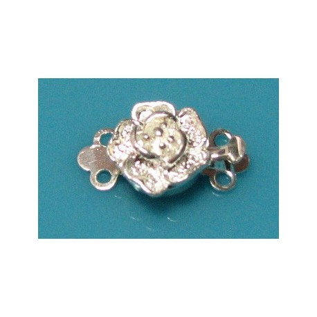 9 mm Flower 2 Strand Tab Clasp Silver Plated