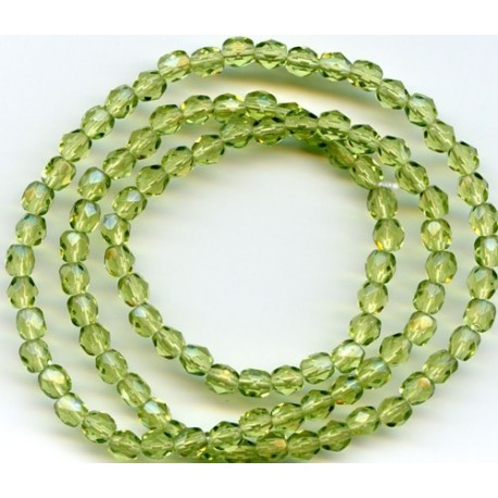 16 Inch Strand 4mm Olivine Czech Fire Polished Crystals