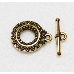 20 mm Antiqued Gold Toggle Round Clasp