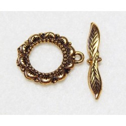 20 mm Fancy Flower Antiqued Gold Toggle Clasp