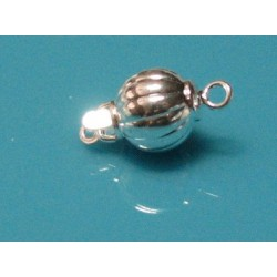 8 mm Corrugated Round Tab Clasp Silver Plated Brass