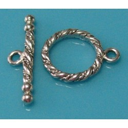 15 mm Round Rope Design Antiqued Pewter Toggle Clasp