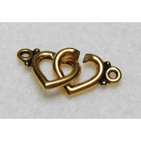 22 mm Antiqued Gold Double Heart Clasp